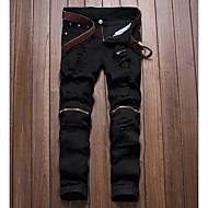 hesapli -Erkek Punk ve Gotik Günlük Chinos Pantolon Geometrik Beyaz Siyah YAKUT 28 29 30