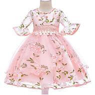 Kids Girls' Basic Daily Floral Half Sleeve Dress Blushing Pink