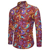 Men's Daily Club Vintage / Basic / Street chic Plus Size Linen Slim Shirt - Paisley / Tribal Print Red / Long Sleeve