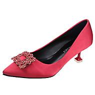 Women's Heels Kitten Heel Pointed Toe PU(Polyurethane) Basic Pump Summer Black / Red / Champagne / Wedding