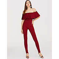 Women's Off Shoulder Ruffle Holiday Street chic Off Shoulder Black Wine White Skinny Jumpsuit Onesie, Solid Colored Ruffle S M L Short Sleeve Spring Summer