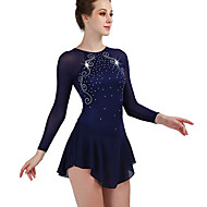 Figure Skating Dress Women's Girls' Ice Skating Dress Violet White Sky Blue Open Back Spandex Stretch Yarn High Elasticity Training Competition Skating Wear Quick Dry Anatomic Design Handmade Classic