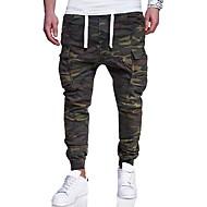 hesapli -Erkek Actif Temel Askeri Büyük Bedenler Hafta sonu İnce Eşoğman Altı Kargo pantolon Pantolon kamuflaj Desen Ordu Yeşili M L XL