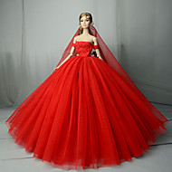 Doll Dress Wedding For Barbiedoll Solid Color Red Cotton Blend For Girl's Doll Toy