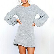 Women's Daily Lantern Sleeve Mini Sweater Dress - Solid Colored Orange Gray Wine M L XL