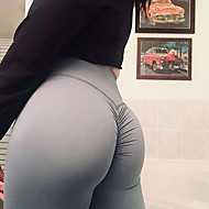billige -Dame Høy Midje Yogabukser Ruched Butt Lifting Svart Mørkegrå Lilla Aprikos Mørk Lilla Spandex Løp Trening Treningsøkt Tights Leggings Sport Sportsklær Push up-bukser Butt Lift Midjekontroll Squat