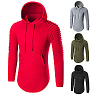 cheap -Men's Hoodie Sweatshirt Streetwear Long Sleeve Breathable Soft Fitness Gym Workout Running Sportswear Solid Colored Plus Size Hoodie Black Red Army Green Grey Activewear Stretchy