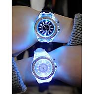 Bărbați Pentru femei Ceas Sport Ceas cu LED Quartz Silicon Negru / Alb / Orange Cronograf Creative Luminos Analog Plin de Culoare Crăciun - Negru Bleumarin Alb Un an Durată de Viaţă Baterie