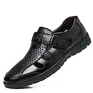 저렴한 -남성용 편안한 신발 여름 캐쥬얼 일상 샌들 워킹화 가죽 통기성 블랙 / 브라운 / EU40