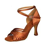 Women's Dance Shoes Satin Latin Shoes Sandal / Heel Flared Heel Customizable Black / Brown / Red / Performance / Practice