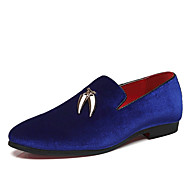 Men's Dress Shoes Suede Spring / Fall British Loafers & Slip-Ons Black / Red / Blue / Party & Evening / Party & Evening
