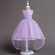 Kids Toddler Girls' Active Sweet Party Holiday Solid Colored Sequins Layered Sleeveless Knee-length Dress Purple / Cotton
