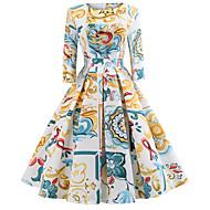 Women's Daily Going out Vintage Elegant Slim Swing Dress - Floral Print Spring Cotton White L XL XXL