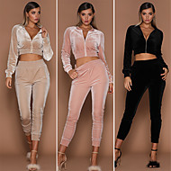 Women's High Rise Classic Stylish Tracksuit Fashion Velvet Yoga Running Exercise & Fitness Jacket Tights Clothing Suit Long Sleeve Activewear Breathable Anatomic Design Comfortable Stretchy