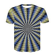 Miesten Pyöreä kaula-aukko Painettu Color Block Perus / Katutyyli Klubi T-paita, Black & White / Lyhythihainen