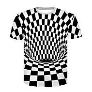 男性用 クラブ - プリント Tシャツ ベーシック / ストリートファッション ラウンドネック カラーブロック ブラック&ホワイト / 半袖