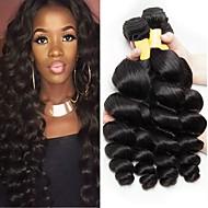 4 Bundles Peruvian Hair Loose Wave Human Hair Unprocessed Human Hair Natural Color Hair Weaves / Hair Bulk Extension Bundle Hair 8-28 inch Black Natural Color Human Hair Weaves Extender Soft Silky