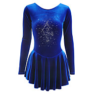 Figure Skating Dress Women's Girls' Ice Skating Dress As Picture Velvet Training Competition Skating Wear Breathable Handmade Solid Colored Long Sleeve Ice Skating Figure Skating / Winter