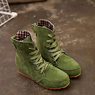Women's Boots Fashion Boots Flat Heel Round Toe Suede Booties / Ankle Boots Fall & Winter Black / Green / Red