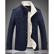 Men's Daily Fall & Winter Regular Jacket, Contemporary Stand Long Sleeve Polyester Dark Gray / Navy Blue / Khaki
