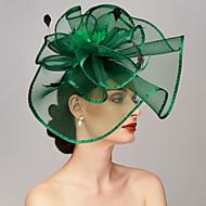 billige -Fjær / Nett Kentucky Derby Hat / fascinators / Hodeplagg med Fjær / Blomster / Blomst 1pc Bryllup / Spesiell Leilighet Hodeplagg