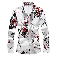 cheap -Men's Daily Plus Size Shirt Floral Print Long Sleeve Slim Tops Basic Red