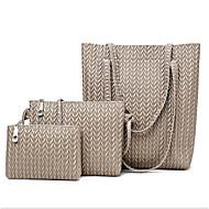 povoljno -Žene Patent-zatvarač PU Bag Setovi Kompleti za vrećice 3 kom Crn / Braon / Plava