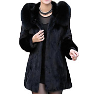 Women's Going out Basic Long Fur Coat, Solid Colored Fold-over Collar Long Sleeve Polyester Black
