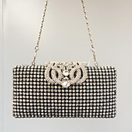 Women's Crystals Alloy Evening Bag Rhinestone Crystal Evening Bags Solid Color Black / Fall & Winter