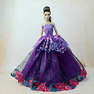 Doll Dress Dresses For Barbiedoll Lace Violet Tulle Lace Cotton Blend Dress For Girl's Doll Toy