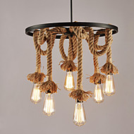 6-Head Vintage Hemp Rope Chandelier Metal Wheel Semi Flush Mount Pendant Lights Living Room Bedroom Restaurant