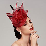 Fjer / Net Kentucky Derby Hat / fascinators / Hovedstykke med Fjer / Blomster / Blomst 1pc Bryllup / Speciel Lejlighed / tefest Medaljon