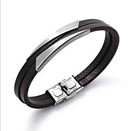 Men's Leather Bracelet Bracelet Stylish Creative Fashion Leather Bracelet Jewelry Black / Silver For Daily Office & Career