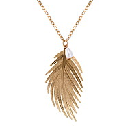 Women's Pendant Necklace Stylish Long Wings Feather Ladies Dangling Hyperbole Fashion Imitation Pearl Alloy Gold Silver 72 cm Necklace Jewelry 1pc For Carnival Festival