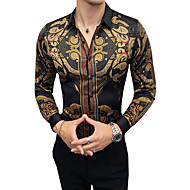Men's Tribal Slim Shirt Vintage Party Daily Work Classic Collar Brown / Fall / Long Sleeve / Club