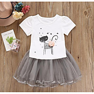 Kids Girls' Active Solid Colored Geometric Short Sleeve Cotton Clothing Set White