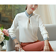 Women's Work Weekend Basic Loose Shirt - Solid Colored V Neck White