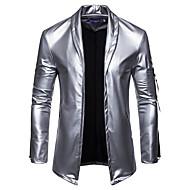 Men's Daily Basic Fall / Winter Regular Leather Jacket, Plaid / Checkered V Neck Sleeveless / Long Sleeve Spandex Gold / Black / Silver