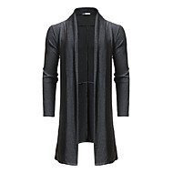 Men's Going out Active Fall & Winter Long Trench Coat, Solid Colored Collarless Long Sleeve Wool / Rayon Black / Dark Gray / Loose