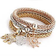 3pcs Women's Pendant Bracelet Layered Elephant Ladies Sweet Rhinestone Bracelet Jewelry Rose Gold For Ceremony Evening Party