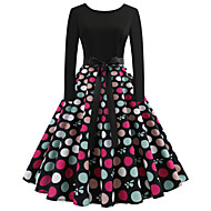 Women's Daily Going out Vintage Elegant Slim Swing Dress - Polka Dot Spring Cotton Black L XL XXL
