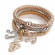 3pcs Women's Pendant Bracelet Layered Music Music Notes Ladies Sweet Rhinestone Bracelet Jewelry Rose Gold For Ceremony Evening Party