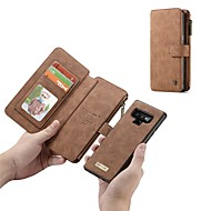cheap -Case For Samsung Galaxy Note 9 / Note 8 Wallet / Card Holder / Shockproof Full Body Cases Solid Colored Hard Genuine Leather