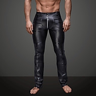 hesapli -Erkek Günlük Kulüp Spor Podstawowy Legging Solid Saf Renk Orta Bel Siyah S M L / Yapay Deri / Punk ve Gotik