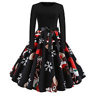 Women's Christmas Party Casual / Daily Street chic Elegant Sheath Swing Dress - Geometric Lace up Patchwork Print Red S M L XL