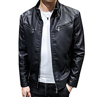 Men's Daily Fall & Winter Regular Leather Jacket, Solid Colored Stand Long Sleeve PU Black / Yellow / Wine