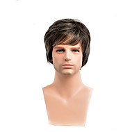 Synthetic Wig Straight Asymmetrical Wig Short Black / Brown Synthetic Hair 20 inch Men's Youth Brown