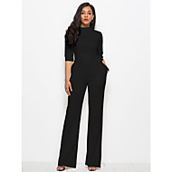 Women's Plus Size Daily Street chic Black Wine White Wide Leg Jumpsuit Onesie, Solid Colored S M L 3/4 Length Sleeve Spring Fall / Sexy