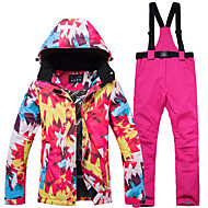 ARCTIC QUEEN Ski Jacket with Pants Women's Ice Skating Pants / Trousers Tracksuit Top Red / Blue Blue and White Red and Pink Sports & Outdoor Outdoor clothing Skating Wear Waterproof Windproof Warm