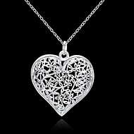 Women's Pendant Necklace Hollow Heart Love Hollow Heart Ladies Floral Fashion 3D S925 Sterling Silver Silver 45 cm Necklace Jewelry 1pc For Wedding Party Daily Casual